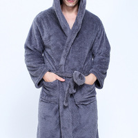 Couple Dressing Gowns For Men Women Warm Super Soft Flannel Coral Fleece Long Bath Robe Mens Kimono Bathrobe Male Robe Hooded