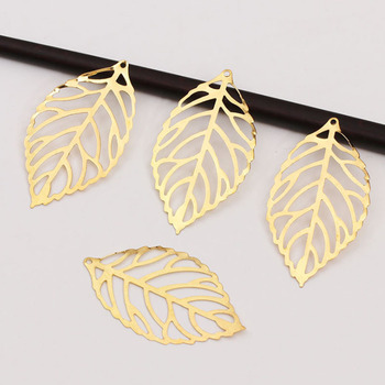 Craft Hollow Leaves Pendant Gold Charm Filigree Jewelry Making Plated Vintage for Hair Comb 1