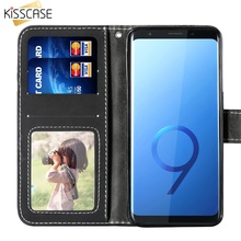 KISSCASE Fashion Flip Leather Wallet Case For Samsung Galaxy S9 S8 Plus Simple Multi Card Holder Cases