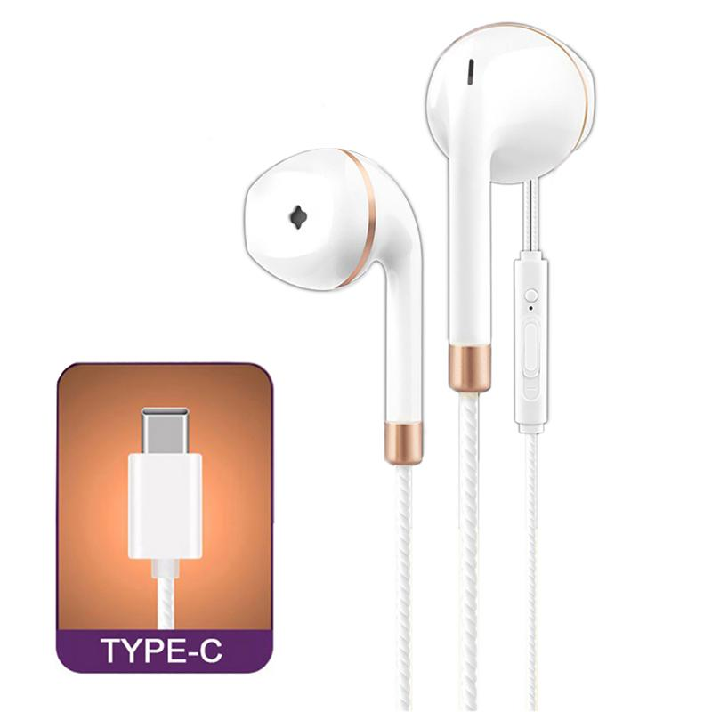 Wired Type C Earphones HIFI Stereo Gaming Anti wrap Line Control Earbuds With Mic Heavy Bass Earbuds For Type C LE Smartphone in Phone Earphones Headphones from Consumer Electronics