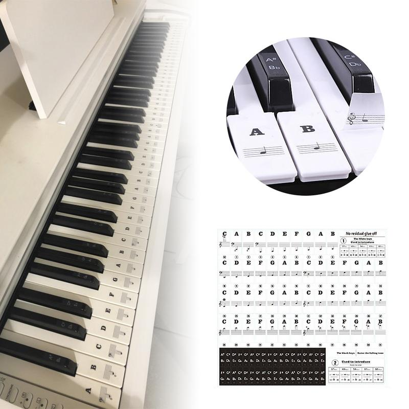 Piano Sticker Transparent Piano 54 61 88 Keys Electronic Keyboard Key Sticker Piano Stave Note Sticker For White Key Music Decal