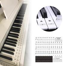 Piano Sticker Transparent Piano 54 61 88 Keys Electronic Keyboard Key Sticker Piano Stave Note Sticker For White Key Music Decal(China)