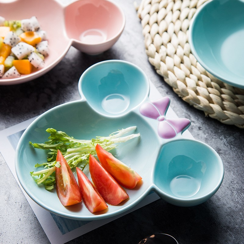 Ceramics Cartoon Plate Food Dish Tableware Cake Dessert Breakfast Ceramica Plate Dinner Fruits Tray in Dishes Plates from Home Garden