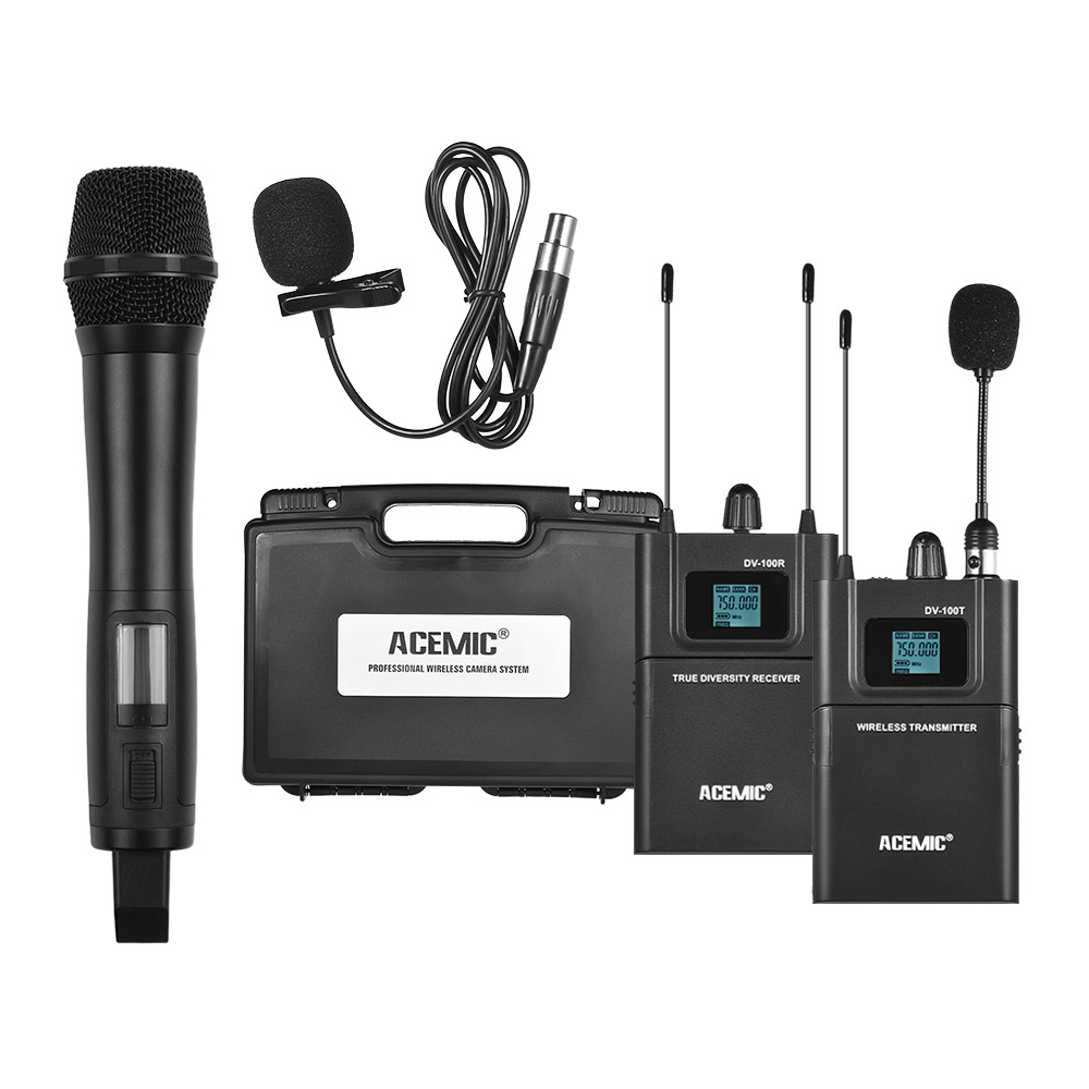 Dual Channel UHF Wireless Microphone System 80M Effective Range for Canon Sony DSLR Camera Camcorder Interview