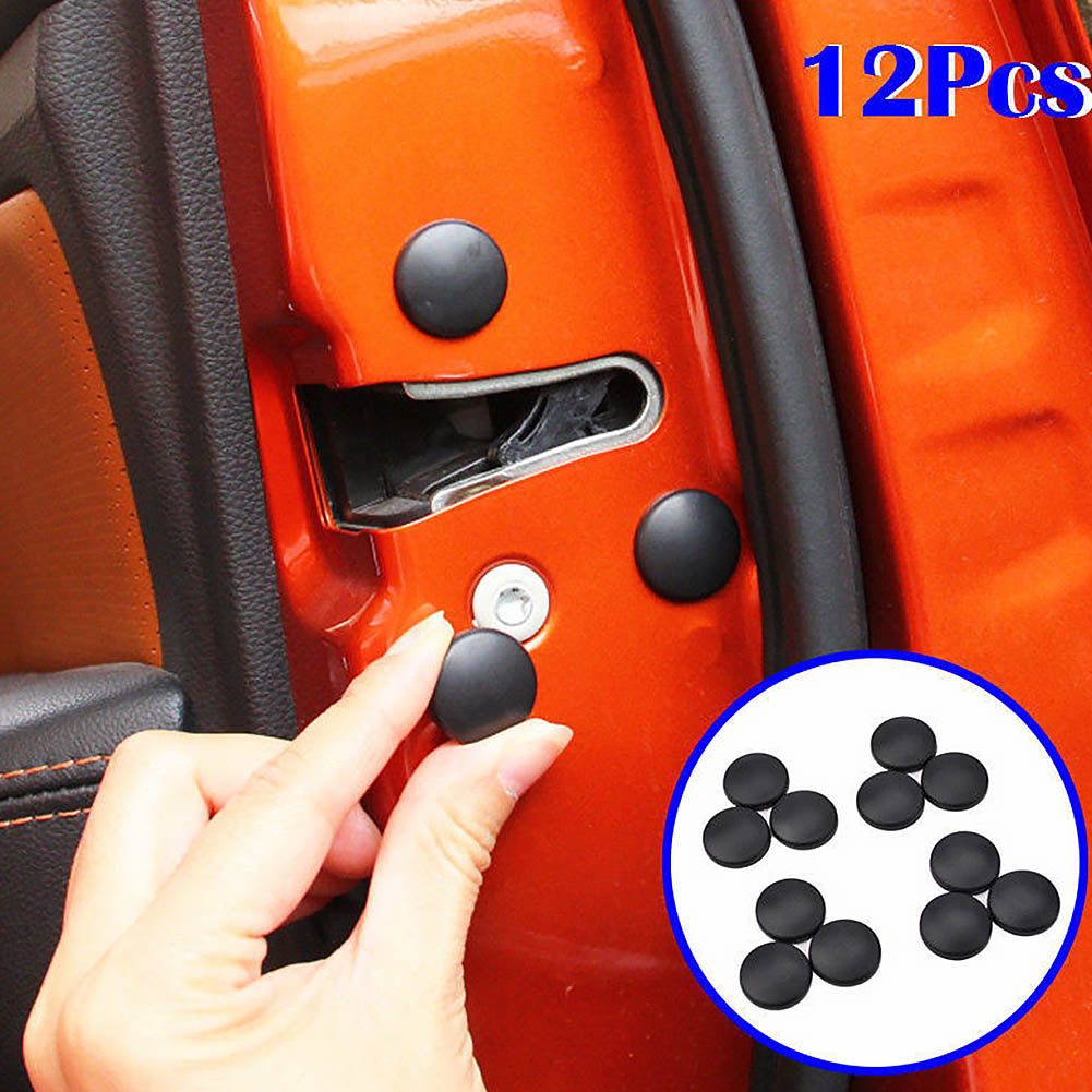 12Pcs Car Interior Door Lock Screw Protector Cover Anti-Rust Cap Trim Stickers Car Door Lock Screw Protector Cover With Adhesive