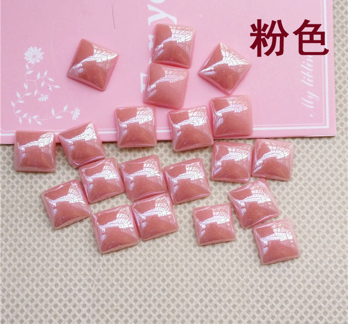 light pink Square shape Ceramics flat back Rhinestones apply to Clothing Decoration and DIY mobile phone shell  30pcs/pack