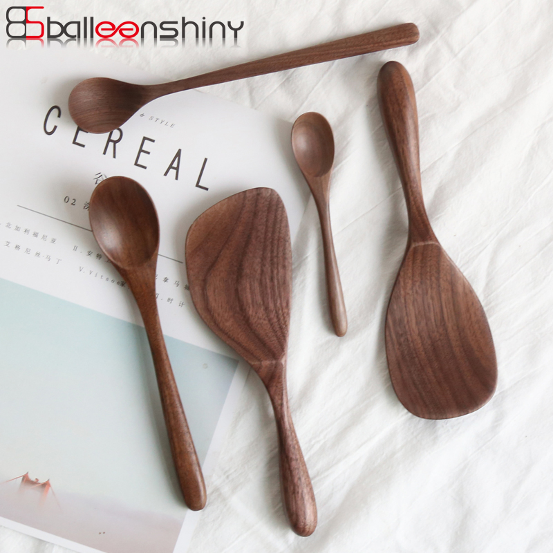 BalleenShiny Black Walnut Coffee Honey Spoons Wooden Japanese Style Stir Long Scoop Large Soup Rice Spoon Kitchen Tableware Gift