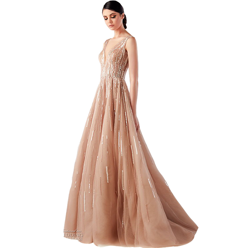 SSYFashion 2019 New Luxury   Evening     Dress   Sexy V-neck Champagne Sequins Beading Sleeveless Lllusion Long Formal Prom Party Gown