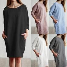 a49cc68cdd2 Celmia 2019 Summer Dress Casual Women Linen Long Shirt Dresses Tunic Top OL  Sundress Sarafans Mini Vestidos Robe Mujer Plus Size