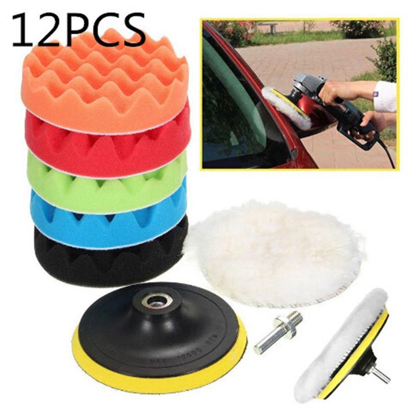 12pcs 3/4/5/6/7 Inch Car Polishing Pad Sponge Woolen
