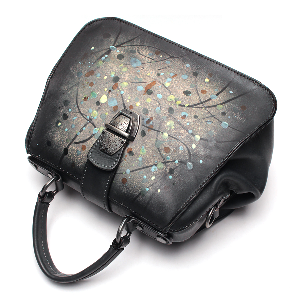 Genuine Leather Art Point Ladies Handbag Handmade Crossbody Bag Women Handbags Genuine Leather Shoulder Sling Cowhide Lady Bags