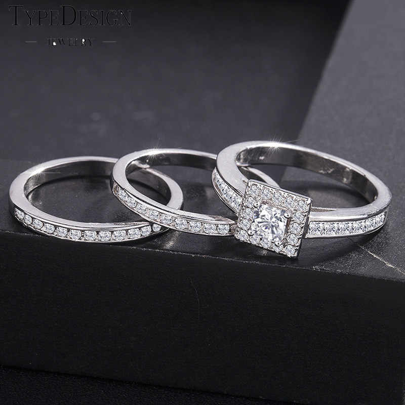 3/pcs Christmas Gift White Austrian Wedding Ring For Women With Paved Micro Crystal Silver Color Bridal Engagement Jewelry Gifts