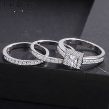3/pcs Christmas Gift White Austrian Wedding Ring For Women With Paved Micro Crystal Silver Color Bridal Engagement Jewelry Gifts zys107 rose gold color created green austrian crystal jewelry set with 3 pcs ring necklace eearrings