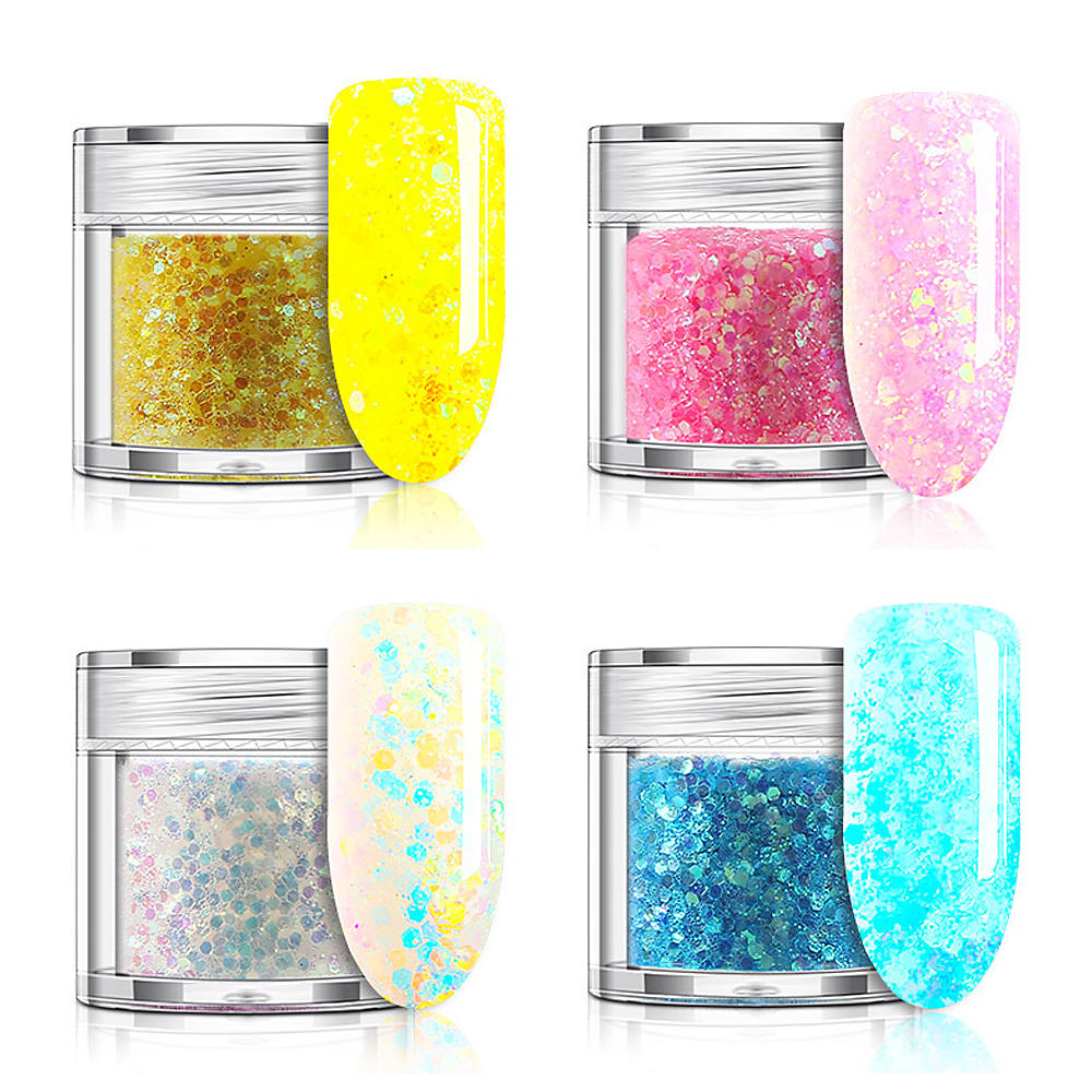1 Bottle Shining Gold Silver Nail Glitter Powder Dust 3D Sequins For Nail Art Dust Flakes Decorations UV Gel Polish in Nail Glitter from Beauty Health