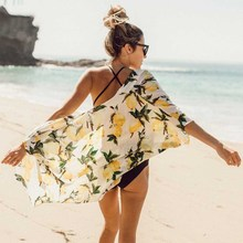 Summer Women Kimono Beach Blouse Casual Half Sleeve Print Shirt