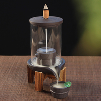 Turn Luck Backflow Incense Holders Ceramic Incense Sticks Burner Acrylic Cover Incense Machine for Home Decor with Wooden Base