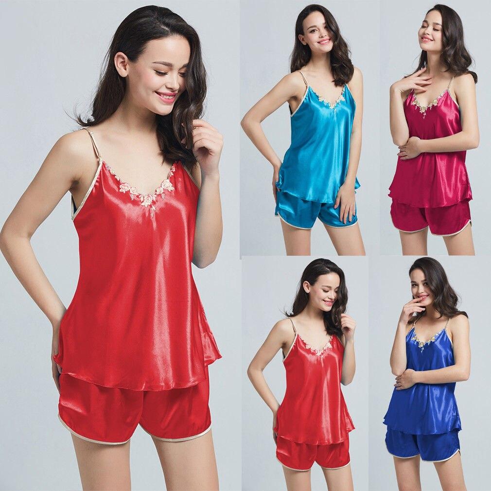 2Pcs Women Sexy Satin Lace Sleepwear Babydoll Lingerie Nightdress Pajamas Set Spaghetti Strap V-Neck Suits