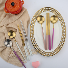 Portuguese Gold Chopsticks Spoon Set Korean Portable Box 304 Stainless Steel Western