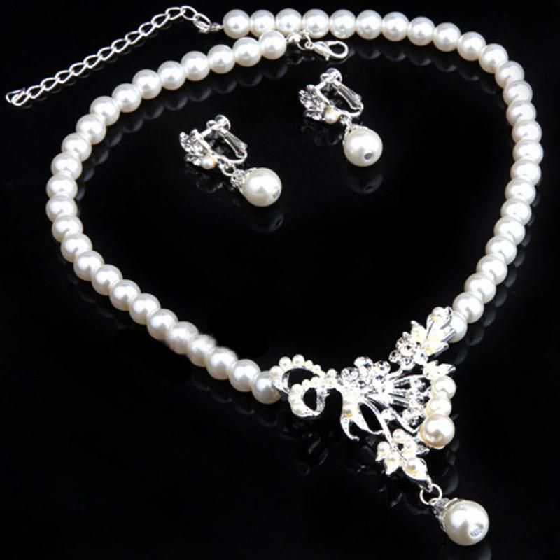 Vintage Simulated Pearl Jewelry Sets For Women Wedding Bridal Crystal Necklace Earrings Gold Color African Set