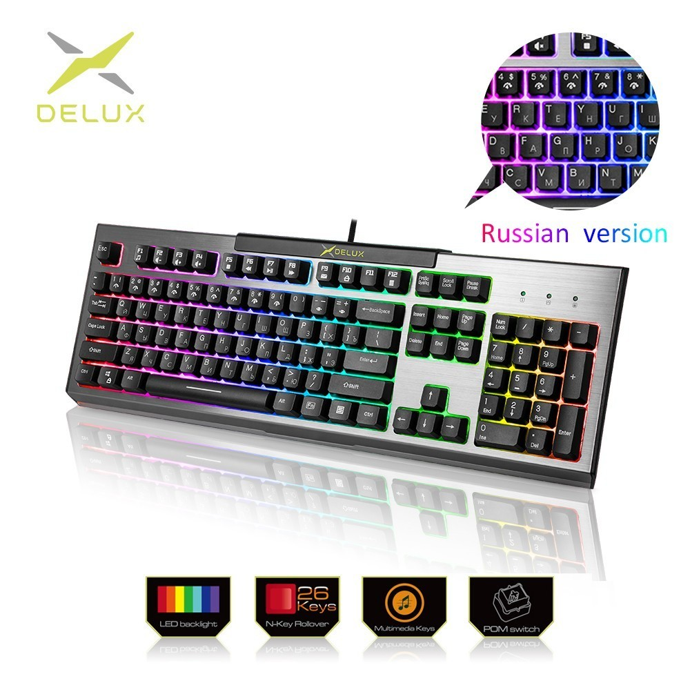 Delux KM9036 Russian Version Gaming Keyboards 104 Keys 7 Color Backlight Standard Keypad Mechanical Feeling For Gamer PC Laptop
