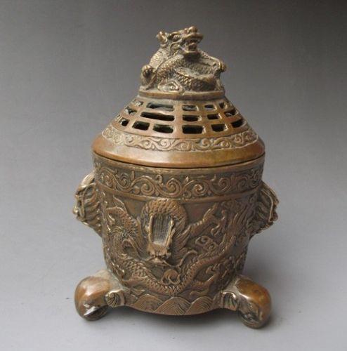 Chinese Bronze Engraving Dragon Incense Burners