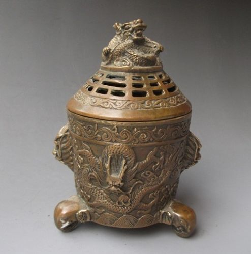 Chinese Bronze Engraving  Dragon  Incense BurnersChinese Bronze Engraving  Dragon  Incense Burners