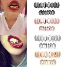 Hot 1Set Custom Fit Gold Plated Hip Hop Punk Teeth Grillz Caps Top & Bottom Grill Kit Party Cosplay Tooth Rapper Jewelry Gift(China)