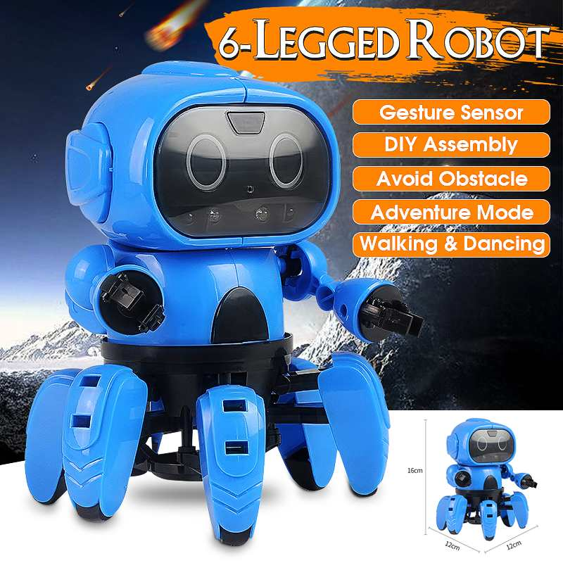 LEROY Smart Sensor Robot Stem 6-Legged Gesture Sensing Infrared Avoid Obstacle Walk/Dance  Robot Toy DIY(China)