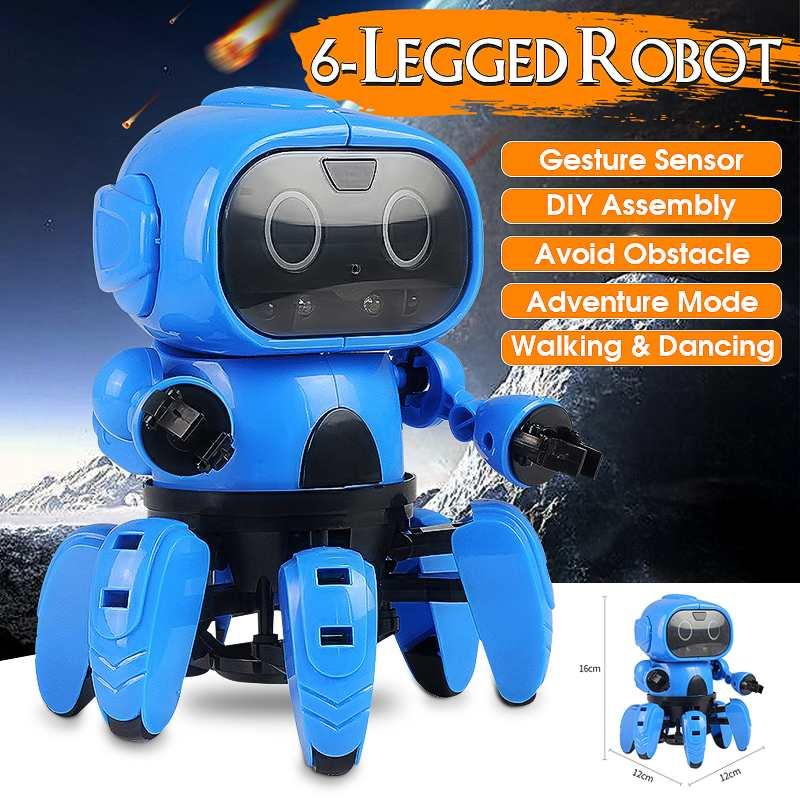 LEROY Smart Sensor Robot Stem 6-Legged Gesture Sensing Infrared Avoid Obstacle Walk/Dance  Robot Toy DIY