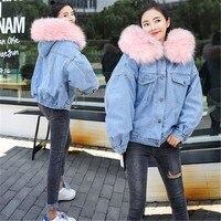 Утепленная джинсовая куртка женская зимняя куртка с большим меховым воротником в Корейском стиле женская джинсовая куртка от camarras De Mujer 2018
