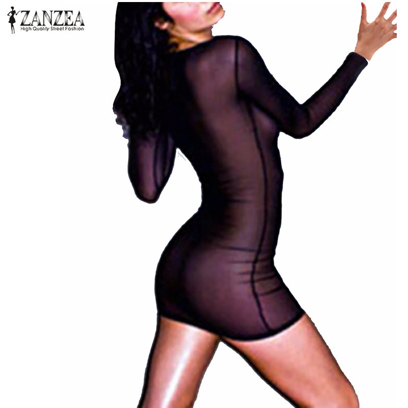 ZANZEA Women Dress See-through Vestidos Transporant Strech Dress Black Mesh Dresses Autumn Summer Mini Vestido Bodycon Sundress