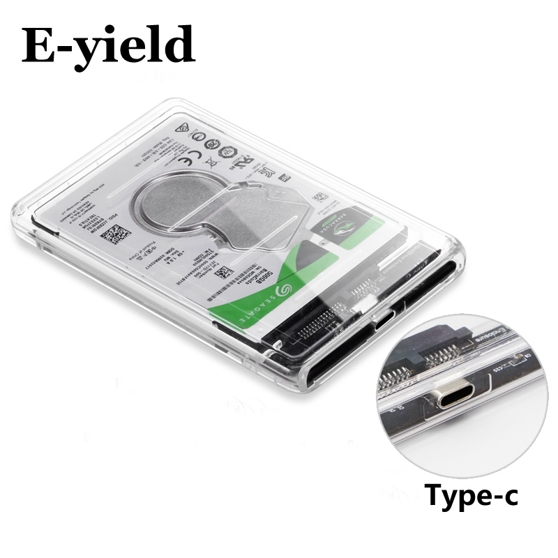 HDD Case Hard-Drive-Enclosure Type-C-Tool USB3.1 Transparent Sata Gbps 2TB Free-5 Support
