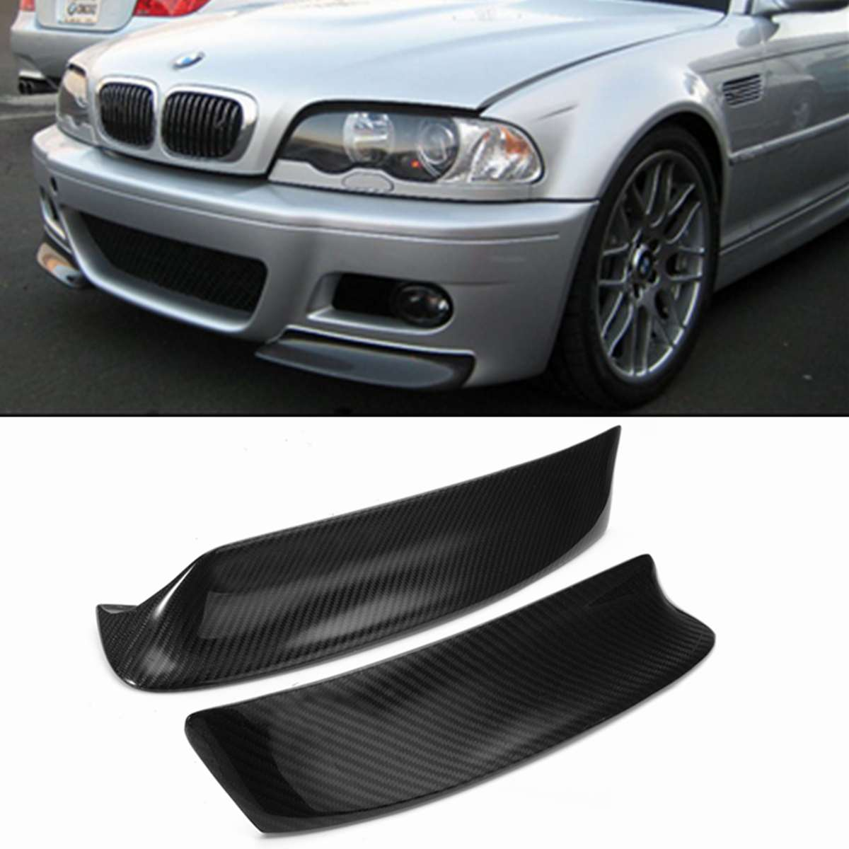 1Pair Real Carbon Fiber E46 M3 Car Front Bumper Splitter Lip Diffuser Canard Protector Guard Cover Trim For BMW E46 M3 1999-2006