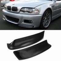 1Pair Real Carbon Fiber E46 M3 Car Front Bumper Splitter Lip Diffuser Canard Protector Guard Cover Trim For BMW E46 M3 1999-2006