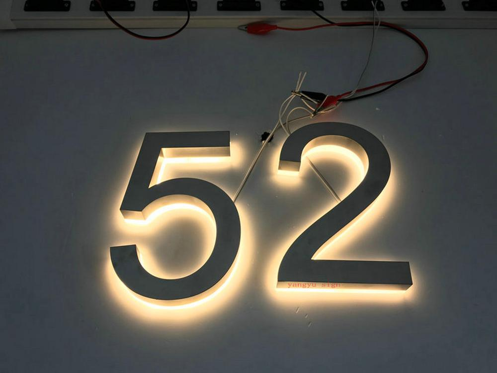 Custom Outdoor 3d Led Solar Light Backlit Stainless Steel House Number Letters