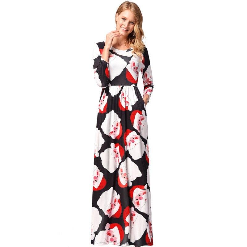 レディースロングスリーブルーズドレス新カジュアルクリスマスドレスツリー雪だるま印刷ロングドレス