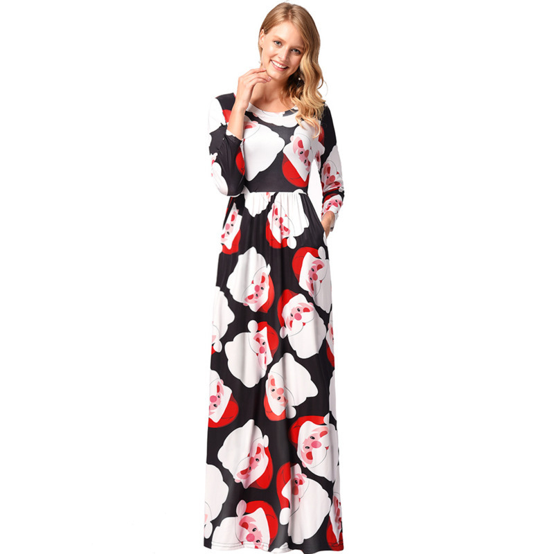 Women Long Sleeve Loose Dresses New Casual Christmas Dress Tree Snowman Printing long Dress