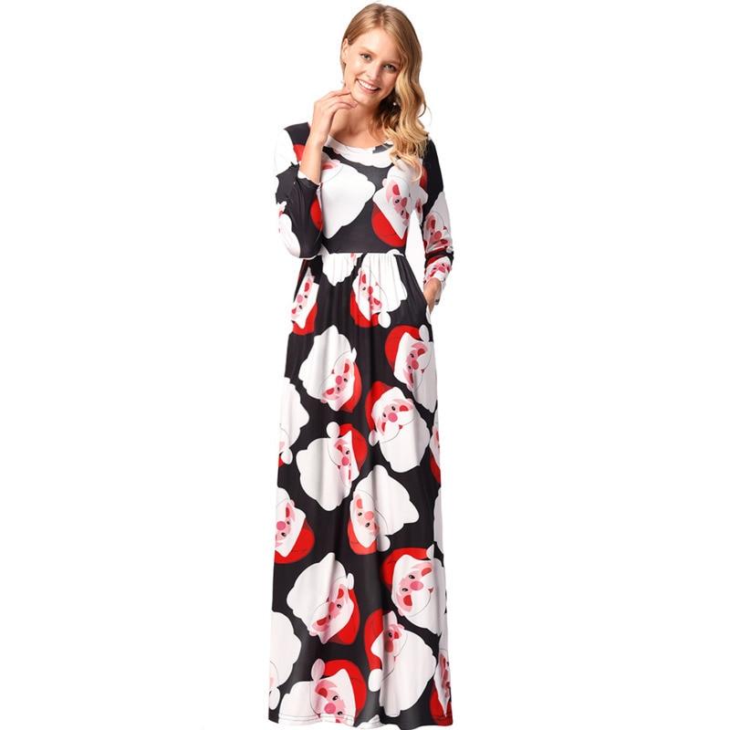 Women Long Sleeve Loose Dresses New Casual Christmas Dress Tree Snowman Printing long Dress
