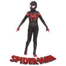 Enfants Spider-man Dans L araignée Verset Miles Morales Cosplay Costume  Spiderman Costume Enfants 3d Zentai Cosplay Salopette Bo. cf6c698d376