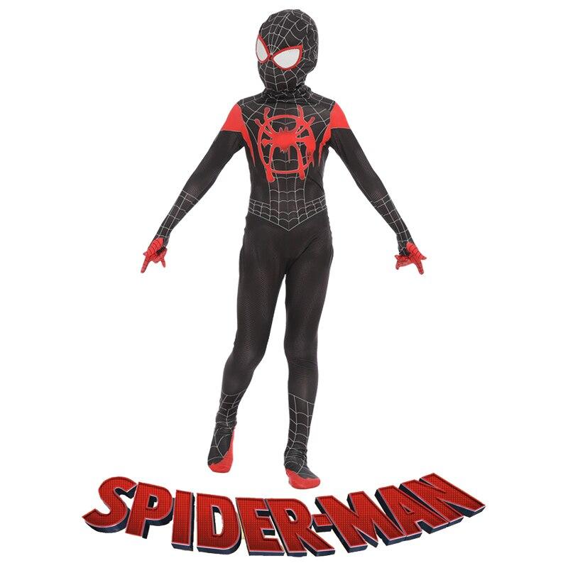 I bambini di Età di Spider-man In The Spider Verso Miles Morales Cosplay Costume Spiderman Modello di Body Zentai Suit Tuta