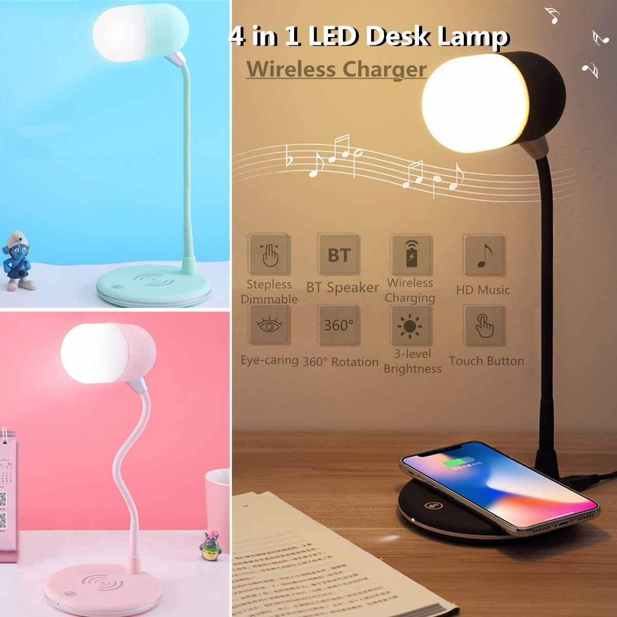 LED Desk Lamp 4 In 1 Wireless Charging LED Music Lamp bluetooth Speaker Table Light Touches Reading Lamp Indoor LightingLED Desk Lamp 4 In 1 Wireless Charging LED Music Lamp bluetooth Speaker Table Light Touches Reading Lamp Indoor Lighting