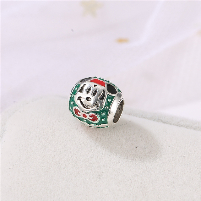 Fashion green beads Alloy ladies jewelry accessories Mickey drop oil beads for jewelry making women accessories wholesale AH042 3