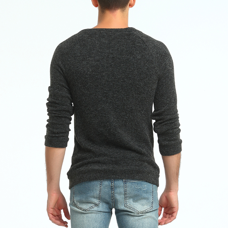 Sweater Spring Men 39 s Fashion Button Decoration Round Neck Knit Sweater Men 39 s Slim Casual Long Sleeve Solid Color Base Sweater in Pullovers from Men 39 s Clothing