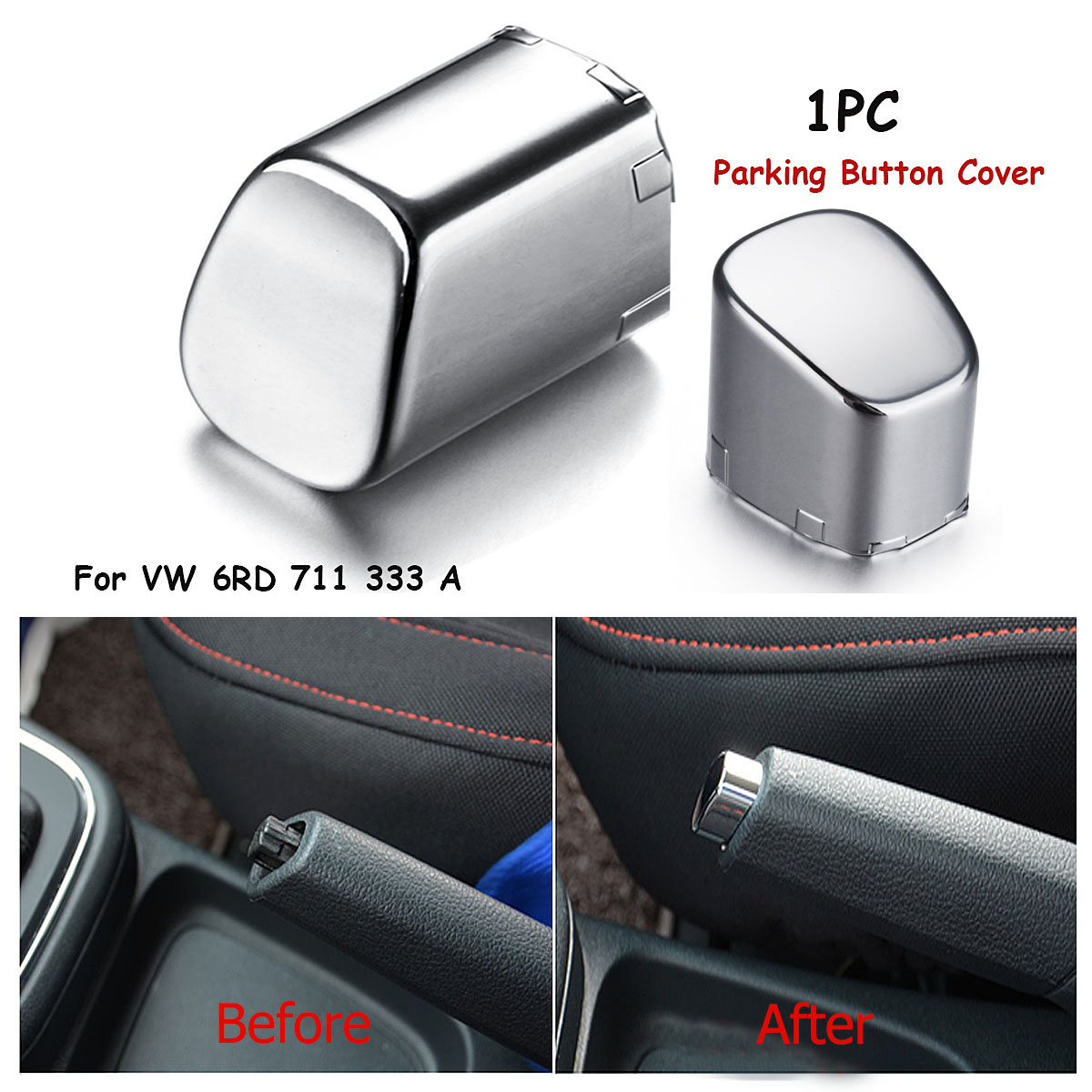 1x Car Handbrake Lever Parking Button Cover Chrome Decoration Shell For VW Polo CROSS GTI 6RD 711 333 A Car Styling Accessories
