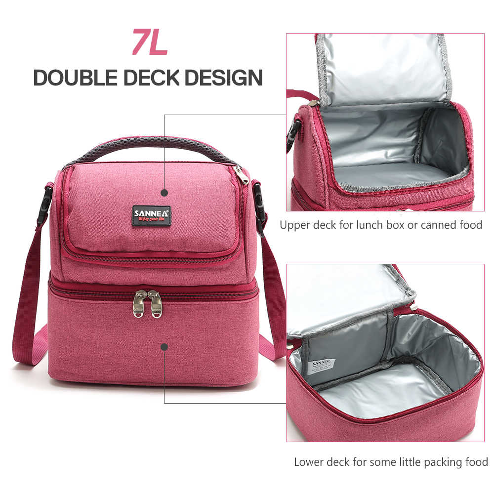 15b579f09041 Lixada 7L Double-Deck Insulated Bag Cooler Lunch Tote Box Bento Picnic Bag  Outdoor Camping BBQ Picnic Cooler Tote Lunch Bag
