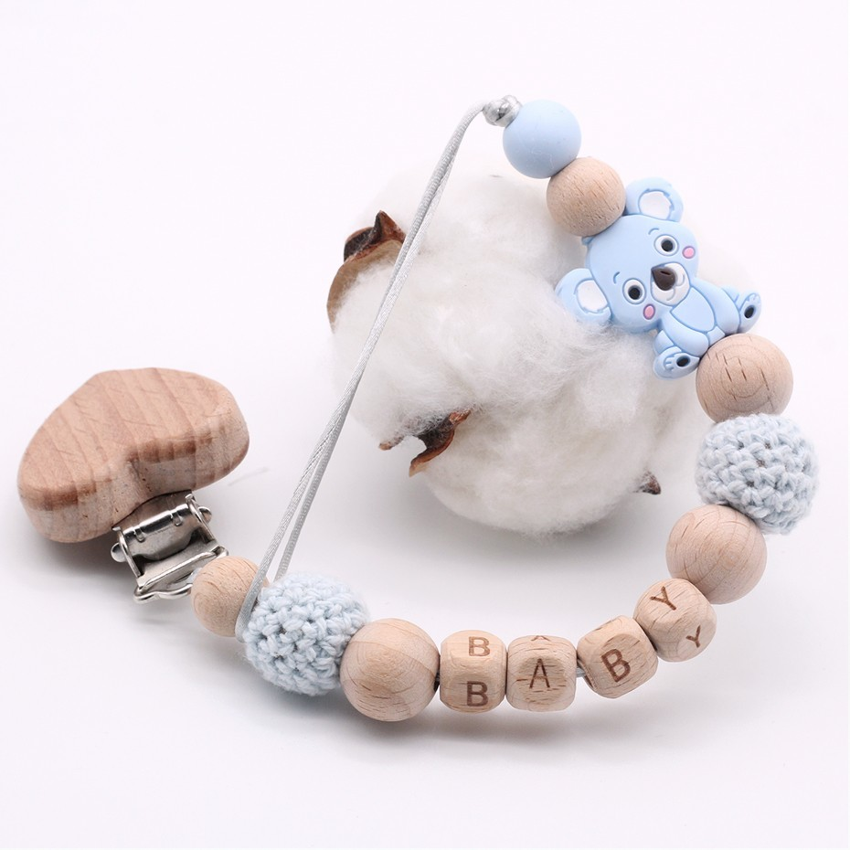 New Wood Baby Pacifier Clip Personalised Name Pacifier Chain Teething Soother Chew Toy Dummy Clips Holder Infant Nipple Silicone