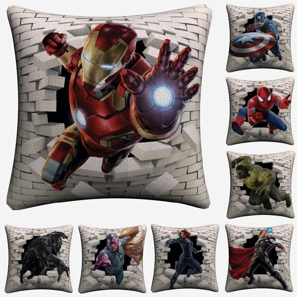 Avengers Superheroes 3D Breaking Wall Decorative Linen Cushion Cover 45x45cm Pillowcase For Sofa Home Decor Pillow Case Almofada