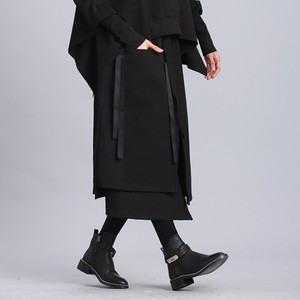 Image 5 - [EAM] 2020 New Spring Summer High Elastic Waist Black Ribbon Split Joint Loose Half body Skirt Women Fashion Tide JL2330