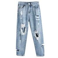 2019 New Loose Harem Pants Vintage High Waist Boyfriend Jeans Womens Ripped Holes Ankle Length Pants Casual Cowboy Pants