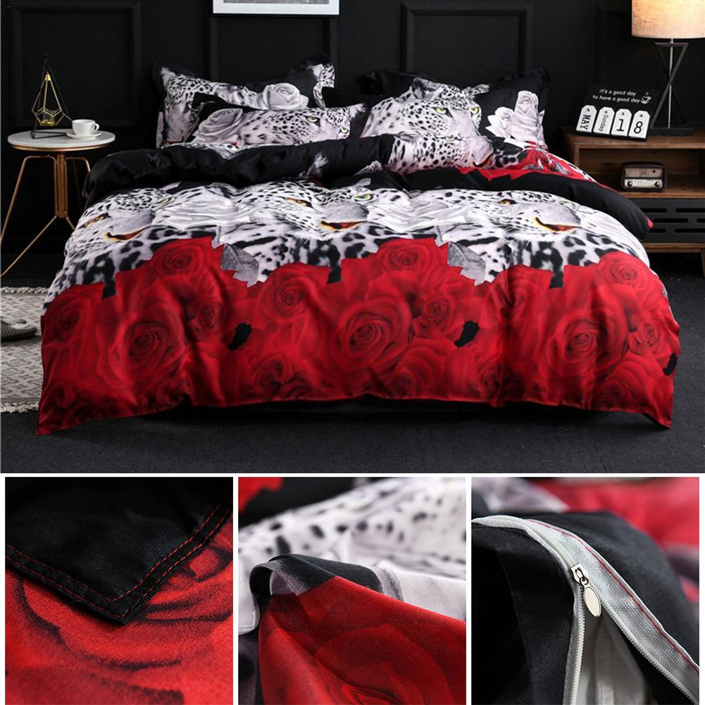 Bed Sheet 4PCs Set 3D Delicate Pattern Animal Prints Sanding Quilt Cover Set Including 1 Duvet Cover 1 Flat Sheet 2 Pillowcases